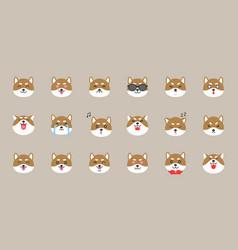 shiba inu emoticon flat style vector image
