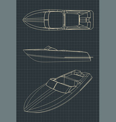 Speedboat drawings vector