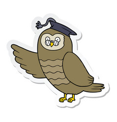 Sticker of a cartoon owl graduate vector
