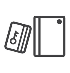 Swipe card reader with keypad line icon vector