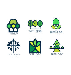 tree logo templates collection green lined badges vector image