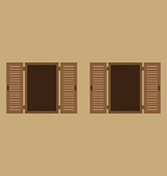 Two wooden windows on wall vector