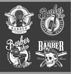Vintage barbershop logos vector