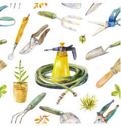Watercolor garden instruments seamless pattern on vector