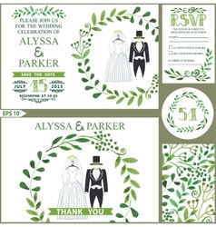 Wedding invitationGreen branches wreath clothes vector image