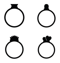 Wedding rings icons set vector