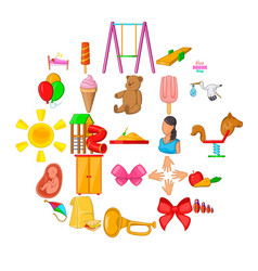 welfare icons set cartoon style vector image