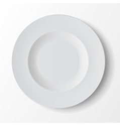 White Empty Round Soup Plate on Background vector image