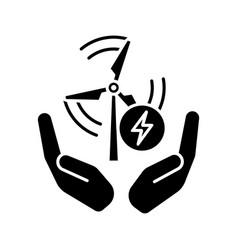 wind energy turbine in hands glyph icon vector image