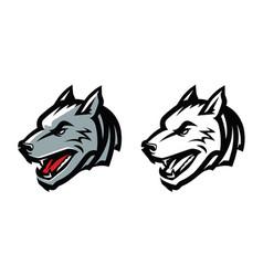 wolf head mascot emblem aggressive wild animal vector image