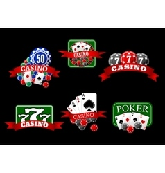 Casino poker jackpot and roulette icons vector image vector image