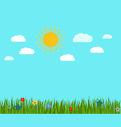 spring green grass and flowers landscape vector image