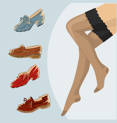 Stockings and female legs with retro vintage shoes vector