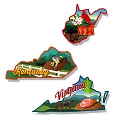 Kentucky Virginia West Virginia retro vector image vector image