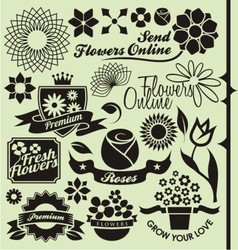 Set of flower symbols and icons vector image vector image