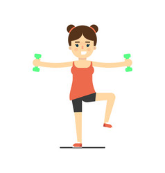 sporty girl doing exercise with dumbbells vector image
