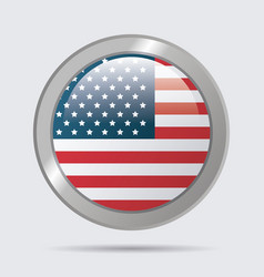 usa flag glossy button emblem design vector image vector image