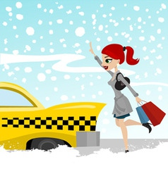 woman catches a taxi vector image vector image