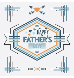 Blue happy fathers day line decoration message vector