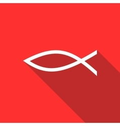 Christian fish symbol icon flat style vector image