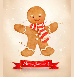 Christmas vintage postcard with gingerbread man vector