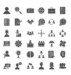 Human resources solid web icons vector