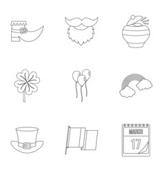 saint patrick day icon set outline style vector image vector image
