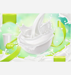 white cream splash yoghurt sour cream sauce 3d vector image vector image