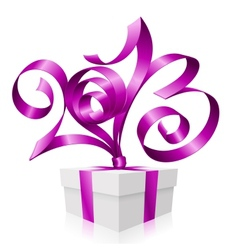 2013 ribbon gift box vector image