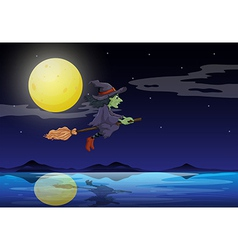 A witch riding on a broom travelling in the middle vector image