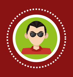 character man business glasses social media vector image