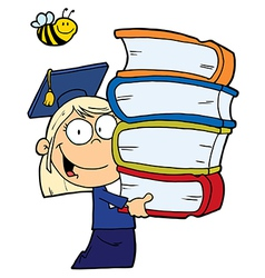 School Girl Carrying A Stack Of Books vector image