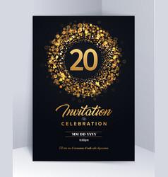 20 years anniversary invitation card template vector image