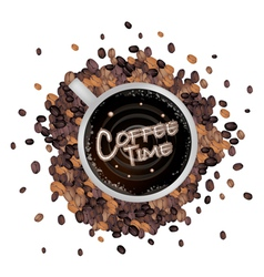 A Cup of Hot Coffee with Coffee Time Word vector image