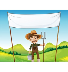 A farmer below the empty signage vector image