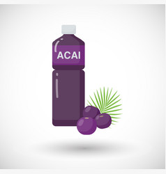 Acai berries juice flat icon vector