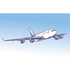 airliner aircraft hand drawn illustration vector image