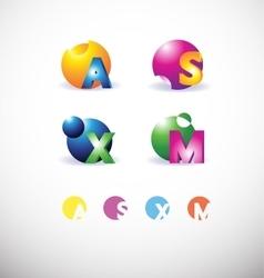 Alphabet letter 3d sphere set logo vector image