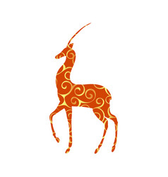 antelope mammal color silhouette animal vector image