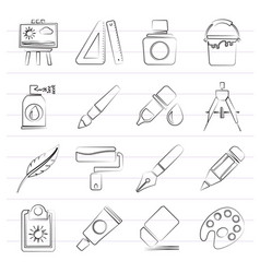 Art and painter icons vector