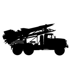 Artillery launcher truck silhouette missile bomb vector