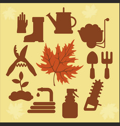 autumn agricultural icons with autumn leaves 2 vector image