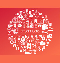 bitcoin icons for currency exchange online on vector image