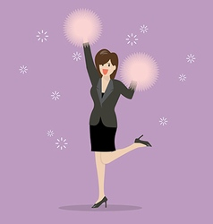 Business woman cheerleader vector