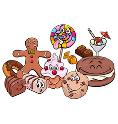 Candy characters group cartoon vector