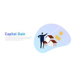 Capital gain business man looking at increased vector