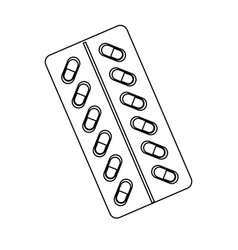 Capsules icon of medicament blisters antibiotics vector