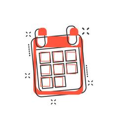 cartoon calendar icon in comic style calendar vector image