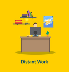 cartoon distant work man at table vector image