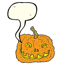 Cartoon pumpkin with speech bubble vector